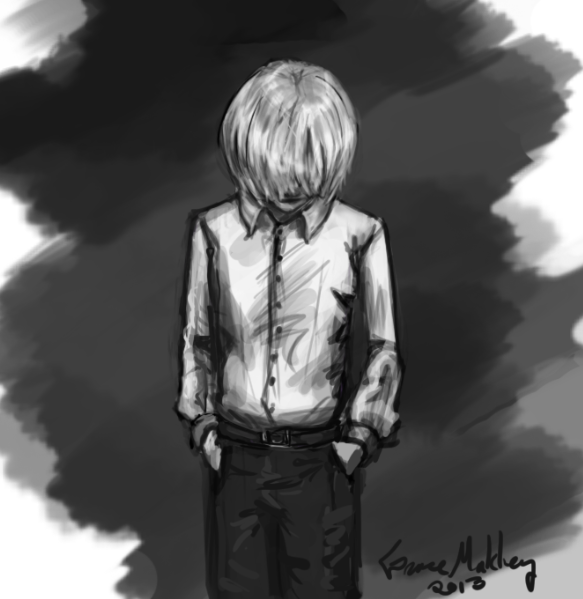 A sketchy-sketch of how Vanya may have looked at 15, all dressed up for his high school concert and staring down at his shoes.