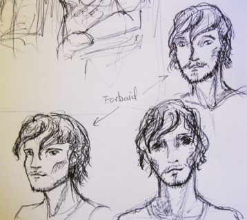 Some sketches for a secondary character in Wanderlust. If you can ignore the one on the bottom right with the panda eyes, I like how he's turning out